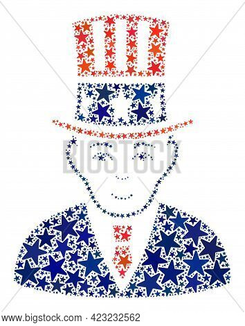 Uncle Sam Mosaic Of Stars In Various Sizes And Color Tints. Uncle Sam Illustration Uses American Off