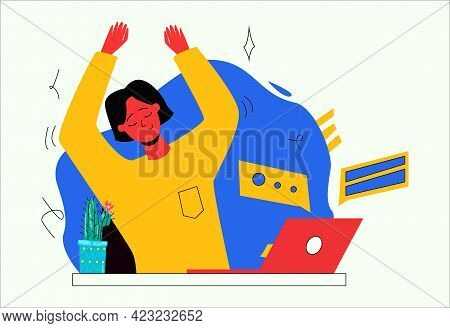 Cute Girl Sitting At Her Desk At Work. Desktop With A Laptop. Break At Work, A Woman Does A Warm-up