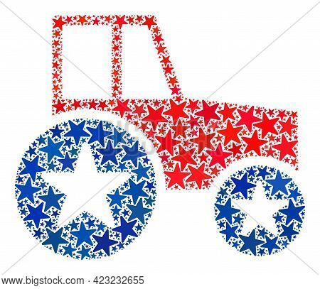 Wheel Tractor Composition Of Stars In Various Sizes And Color Tints. Wheel Tractor Illustration Uses
