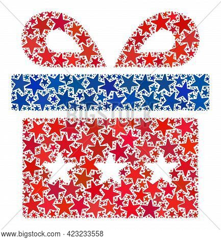 Present Collage Of Stars In Various Sizes And Color Hues. Present Illustration Uses American Officia