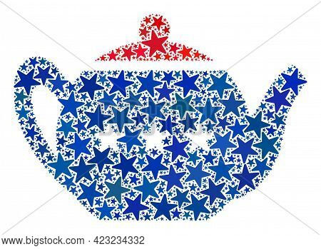 Teapot Collage Of Stars In Different Sizes And Color Shades. Teapot Illustration Uses American Offic