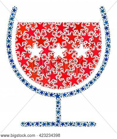 Wine Cup Collage Of Stars In Different Sizes And Color Shades. Wine Cup Illustration Uses American O