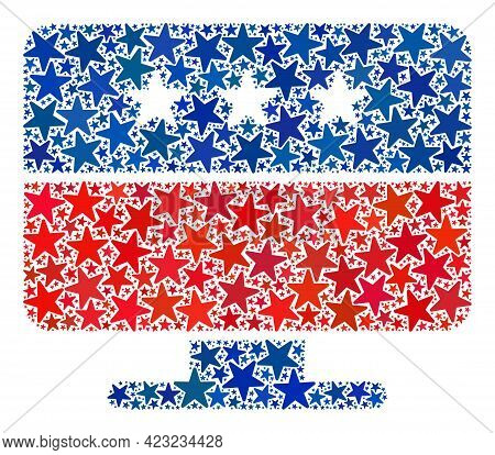 Display Mosaic Of Stars In Different Sizes And Color Hues. Display Illustration Uses American Offici