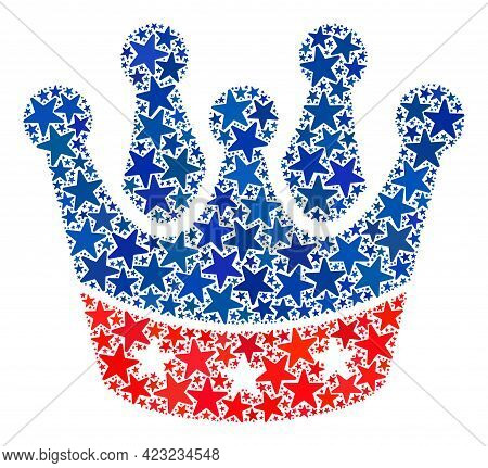 President Crown Mosaic Of Stars In Different Sizes And Color Tones. President Crown Illustration Use