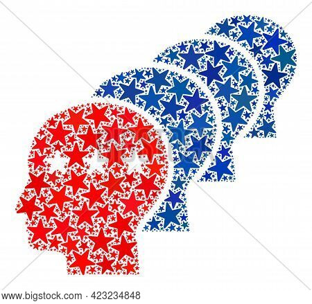 Men Heads Collage Of Stars In Variable Sizes And Color Tinges. Men Heads Illustration Uses American