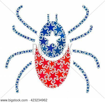 Mite Collage Of Stars In Various Sizes And Color Hues. Mite Illustration Uses American Official Blue