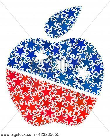 Apple Collage Of Stars In Variable Sizes And Color Tones. Apple Illustration Uses American Official