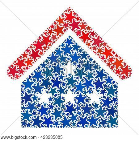 House Collage Of Stars In Different Sizes And Color Tinges. House Illustration Uses American Officia