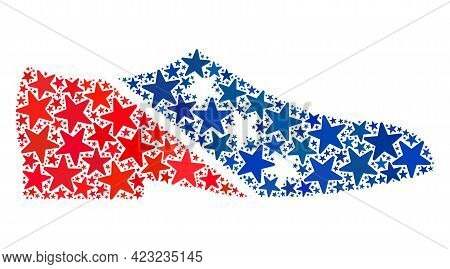 Man Shoe Collage Of Stars In Different Sizes And Color Hues. Man Shoe Illustration Uses American Off