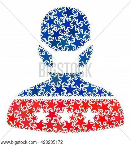Masked Man Mosaic Of Stars In Variable Sizes And Color Hues. Masked Man Illustration Uses American O