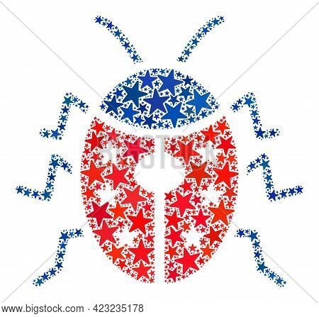 Ladybird Mosaic Of Stars In Different Sizes And Color Shades. Ladybird Illustration Uses American Of