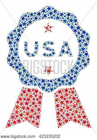 Usa Stamp Seal Mosaic Of Stars In Different Sizes And Color Tones. Usa Stamp Seal Illustration Uses