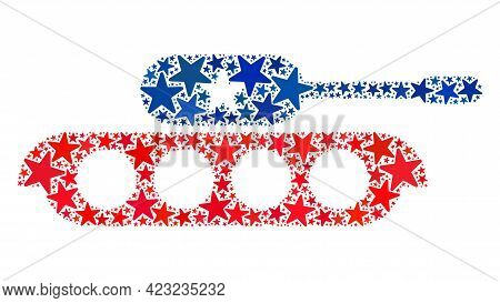 Military Tank Composition Of Stars In Variable Sizes And Color Tinges. Military Tank Illustration Us