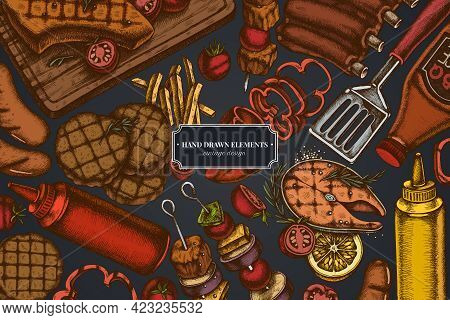 Design On Dark Background With Spatula, Pork Ribs, Kebab, Sausages, Steak, Sauce Bottles, Grilled Bu