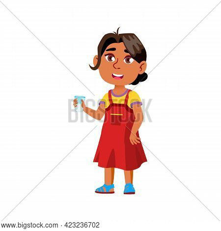 Sweet Indian Girl Drinking Milk In Cafeteria Cartoon Vector. Sweet Indian Girl Drinking Milk In Cafe
