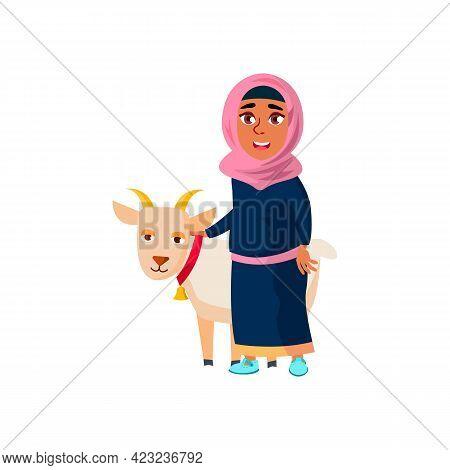 Muslim Girl Teen With Goat On Pasture Cartoon Vector. Muslim Girl Teen With Goat On Pasture Characte