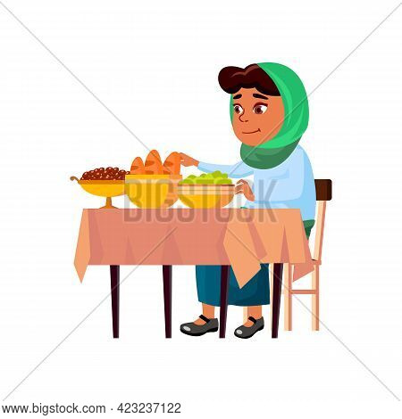 Hungry Arabic Lady Devouring Tasty Meals At Feast Cartoon Vector. Hungry Arabic Lady Devouring Tasty