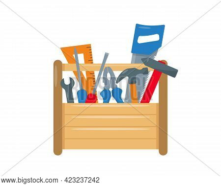 Carpenter Or Repair Tool Box With Instruments Inside. Wooden Workbox With Tools Isolated On White Ba