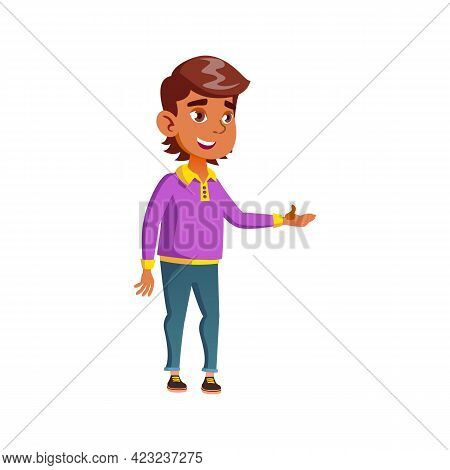 Hispanic Boy Teen Ordering Dishes In Cafeteria Cartoon Vector. Hispanic Boy Teen Ordering Dishes In
