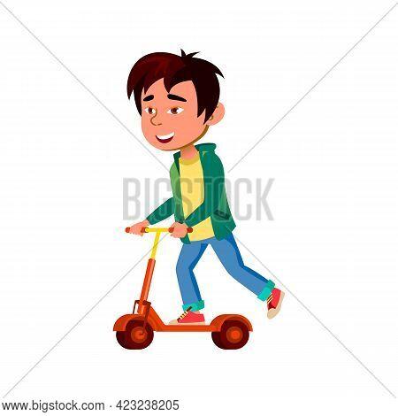 Happy Asian Boy Riding Kick Scooter On City Street Cartoon Vector. Happy Asian Boy Riding Kick Scoot