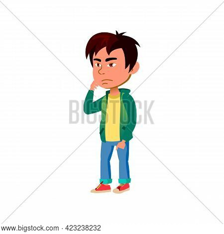 Thoughtful Asian Boy Remembering Where Left School Bag Cartoon Vector. Thoughtful Asian Boy Remember