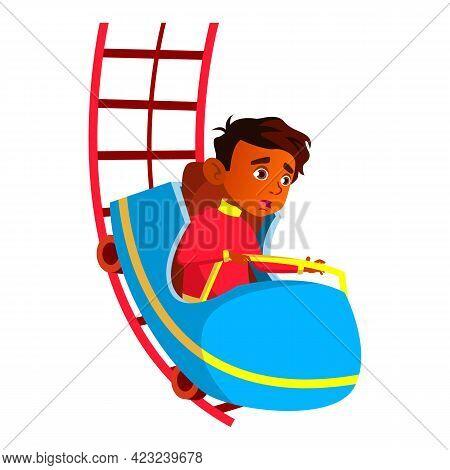 Scared Indian Boy Riding Roller Coaster In Amusement Park Cartoon Vector. Scared Indian Boy Riding R
