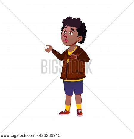 Shocked Schoolboy Saw Highest Mountain Cartoon Vector. Shocked Schoolboy Saw Highest Mountain Charac