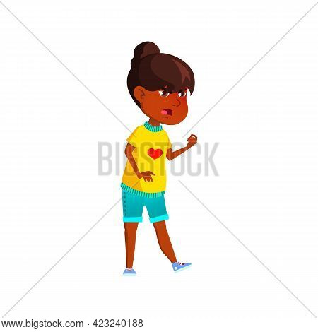 Mad African Girl Shouting At Kid In Park Cartoon Vector. Mad African Girl Shouting At Kid In Park Ch