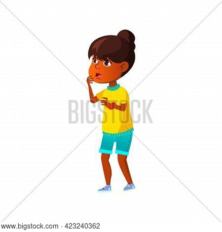 Excited Girl Saw Incredible Situation On Street Cartoon Vector. Excited Girl Saw Incredible Situatio