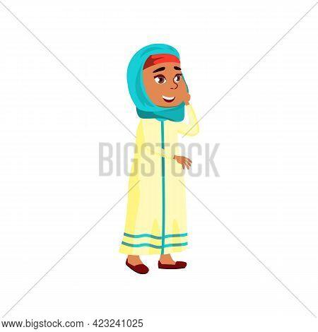Cute Muslim Girl Admiring Beautiful View At Beach Cartoon Vector. Cute Muslim Girl Admiring Beautifu