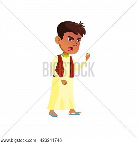 Mad Egyptian Boy Child Screaming At Domestic Animal Cartoon Vector. Mad Egyptian Boy Child Screaming
