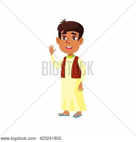 Cheerful Egyptian Boy Infant Welcoming Friends At Home Cartoon Vector. Cheerful Egyptian Boy Infant