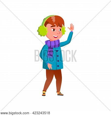 Little Boy Glad To See Friends In Snowy Park Cartoon Vector. Little Boy Glad To See Friends In Snowy