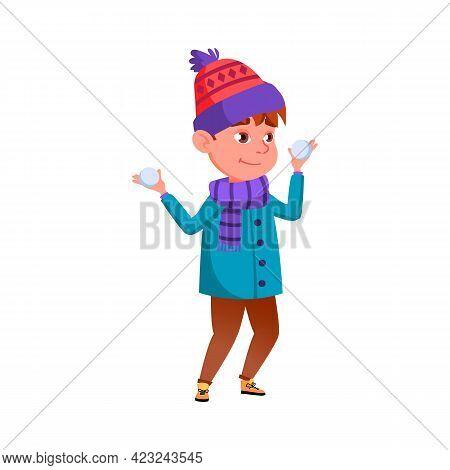 Playful Boy Holding Snowballs Cartoon Vector. Playful Boy Holding Snowballs Character. Isolated Flat