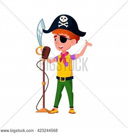 Cute Boy Kid In Pirate Costume With Sword Singing In Karaoke Cartoon Vector. Cute Boy Kid In Pirate