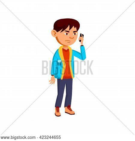 Sad Boy Lose In Game On Smartphone Cartoon Vector. Sad Boy Lose In Game On Smartphone Character. Iso