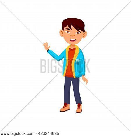 Funny Korean Boy Kid Glad To See Grandparents At Home Cartoon Vector. Funny Korean Boy Kid Glad To S