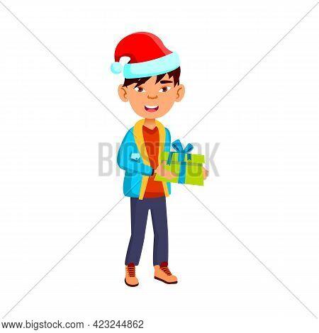 Preteen Asian Boy Holding Gift Box Celebrate Xmas At Home Cartoon Vector. Preteen Asian Boy Holding