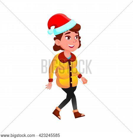 Smiling Caucasian Girl In Winter Season Garment Going On Xmas Celebrative Party Cartoon Vector. Smil