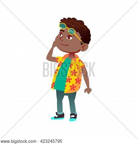 Smiling African Boy Infant Looking At Monument On Excursion Cartoon Vector. Smiling African Boy Infa