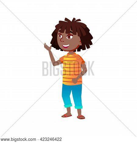 Funny African Girl Preteen Has Conversation With Boyfriend In Garden Cartoon Vector. Funny African G