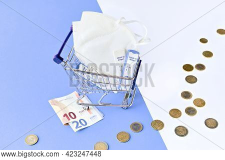 Cost Of Shnelltest, Rapid Corona Test In German Language. Shopping Cart With Covid 19 Antigen Tests