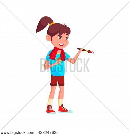 Happy Caucasian Girl Drawing Picture With Brush And Paint Cartoon Vector. Happy Caucasian Girl Drawi