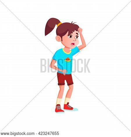 Afraid Girl Kid Look At Terrible Snake In Terrarium Cartoon Vector. Afraid Girl Kid Look At Terrible