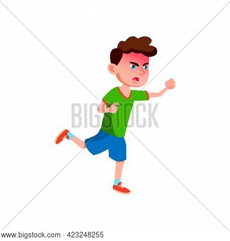 Angry Boy Running After Enemy On Playground Cartoon Vector. Angry Boy Running After Enemy On Playgro