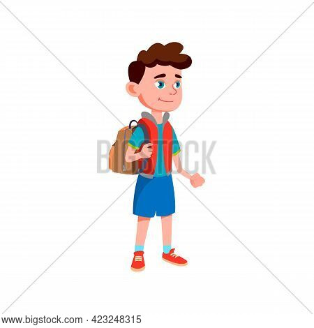 Schoolboy With Rucksack Waiting School Bus On Bus Stop Cartoon Vector. Schoolboy With Rucksack Waiti