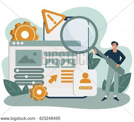 Man Standing In Front Of Smartphone With Website On Screen. Concept Of Ui Or Ux Design, User Experie
