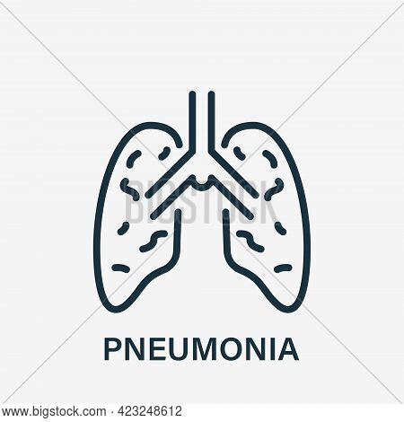 Pneumonia Lungs Line Icon. Inflammatory Condition Of Lungs. Human Internal Organ Linear Icon. Pneumo