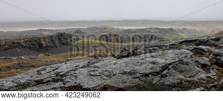Panoramic view of Lava fields in Iceland