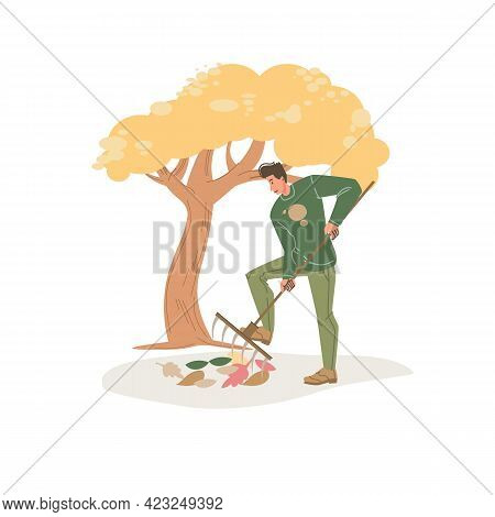 Vector Flat Cartoon Character In Autumn Season Outdoor Removes Fall Leaves With Rake - Fashion, Emot